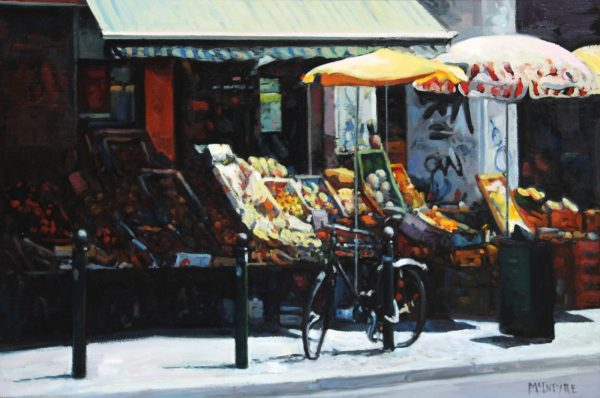 Joe McIntyre_Summer in the City, Fruit Stalls, Amsterdam_Oil_23.5x35.5