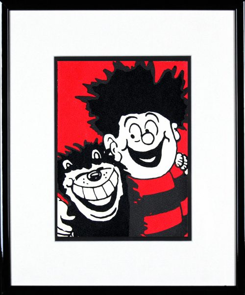 John Patrick Reynolds_Dennis the Menace Hugs Gnasher_15x13_Framed copy