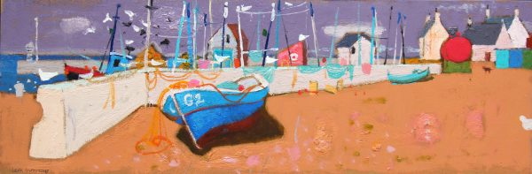 Leon Morrocco_Oils_The Blue Boat, Gourdon_12x36