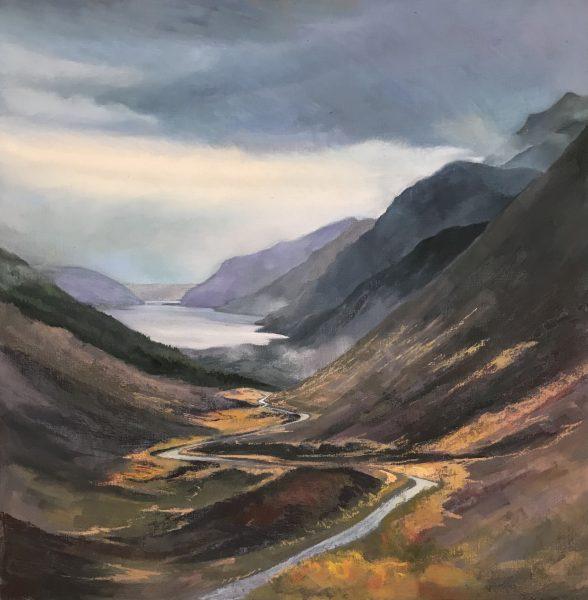 Margaret Evans, Road to Torridon_Pastel & Gouache_30x30