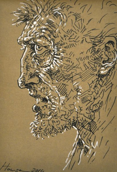Peter Howson_28. Carluke_Pen and Ink_6x4_Framed 22x18_950
