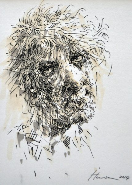 Peter Howson_70. Muirkirk_Pen and Ink_8x6_Framed 22x18_1500