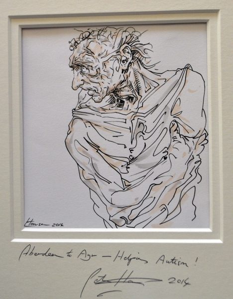 Peter Howson_8. Carnoustie (detail). Pen and Ink. Image size 7.5x7_Framed 22x18_1200