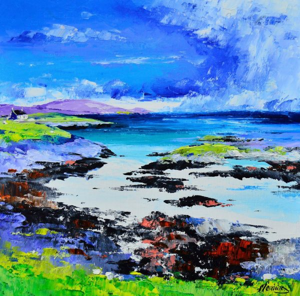 Kevin Fleming_Original_Acrylics_ Summer, Cottage on the Shore, Earsary, Barra_img 12 x 12_fmd 17 x 17