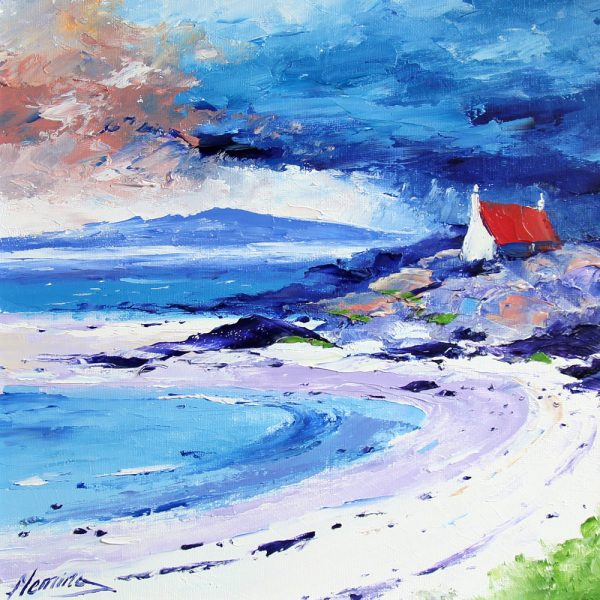 Kevin Fleming_Original_Acrylics_Cottage and Beach, Summer, Ardmhor, Barra_img 12 x 12_fmd 17 x 17 (1)