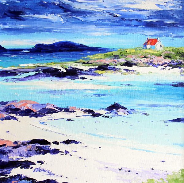 Kevin Fleming_Original_Acrylics_Cottage on the Shore, Summer, Ardmhor, Barra_img 12 x 12_fmd 17 x 17 (1)