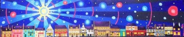 Ross Grant Thomson_Original_Acrylics_Moonlight on the Pubs of Broughty Ferry_12 x 40