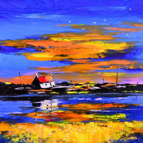 Kevin Fleming_Original_Acrylics_ Cottage at Sunset, Gott Bay, Tiree_img 12 x 12_fmd 17 x 17