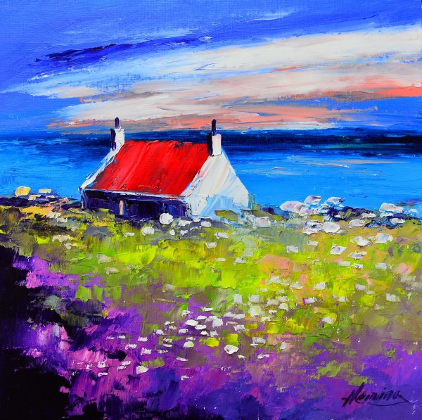 Kevin Fleming_Original_Acrylics_ Cottage at Sunset, Iona_img 12 x 12_fmd 17 x 17