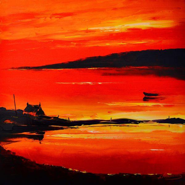 Kevin Fleming_Original_Acrylics_ Flodabay Sunset, Harris_img 12 x 12_fmd 17 x 17
