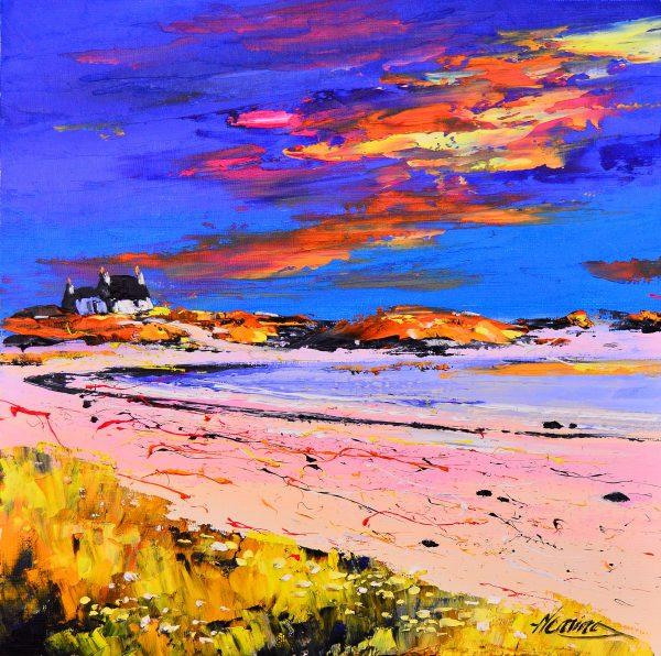 Kevin Fleming_Original_Acrylics_ Gott Bay Sunset, Tiree_img 12 x 12_fmd 17 x 17