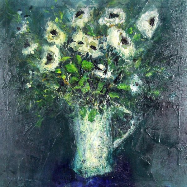 Nael Hanna_Original_Mixed Media_Flowers in a White Vase_img 32x32