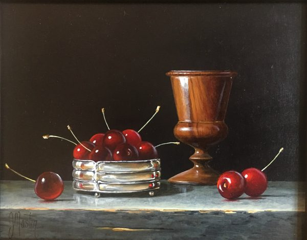 Ian Mastin_Ebony Goblet with Cherries_Acrylics_8x10