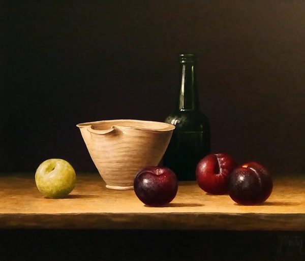 Ian Mastin_Plums Around a Bowl_Acrylics_12x14