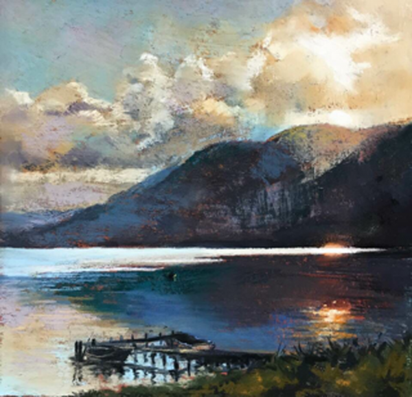 Margaret Evans_Sultry Evening, Loch Earn_Pastel & Gouache_12x12