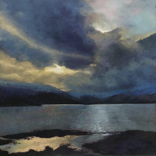 Margaret Evans_Winters Drama, Loch Tulla_Pastel & Gouache_24x24