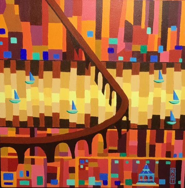 Ross Grant Thomson_Sunset on Tay Rail Bridge_Acrylics_12x12