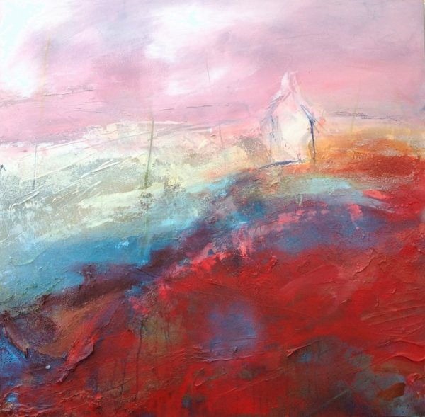 Beverley Waller_Pink Skies Red Lands with Bothy_Mixed Media_39.5x39.5