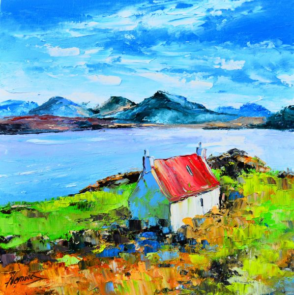 Kevin Fleming_Original Oils_Lochside Cottage, Shieldaig, Torridon_image 11.5x11.5_Framed 17x17