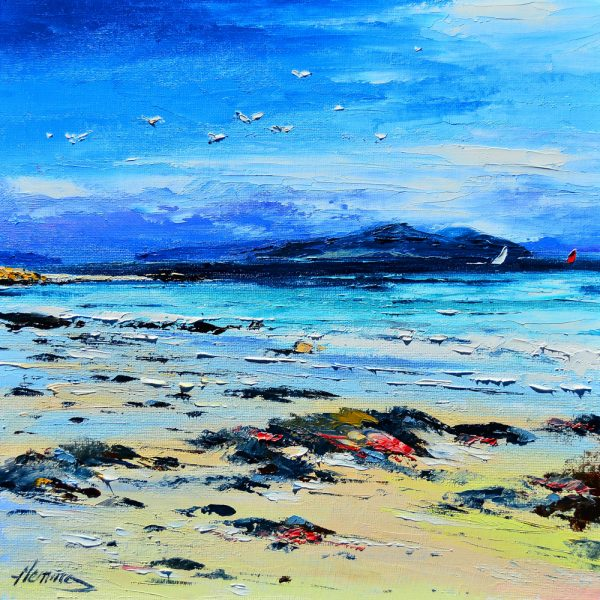 Kevin Fleming_Original Oils_Red & White Sails, Traigh Ban, Iona_image 11.5x11.5_Framed 17x17
