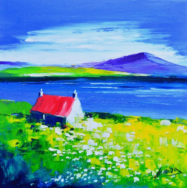 Kevin Fleming_Original Oils_Spring, Cottage at Loch Torridon_image 11.5x11.5_Framed 17x17