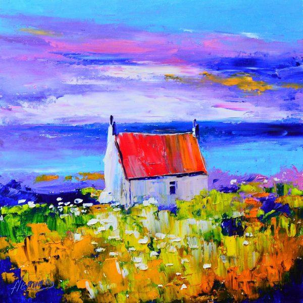 Kevin Fleming_Original Oils_Wee Bothy, Sunset, Iona_image 11.5x11.5_Framed 17x17