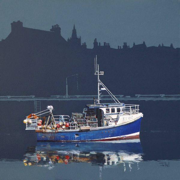 John Bell_Blue Boat, Pittenweem_Acrylic_18x18