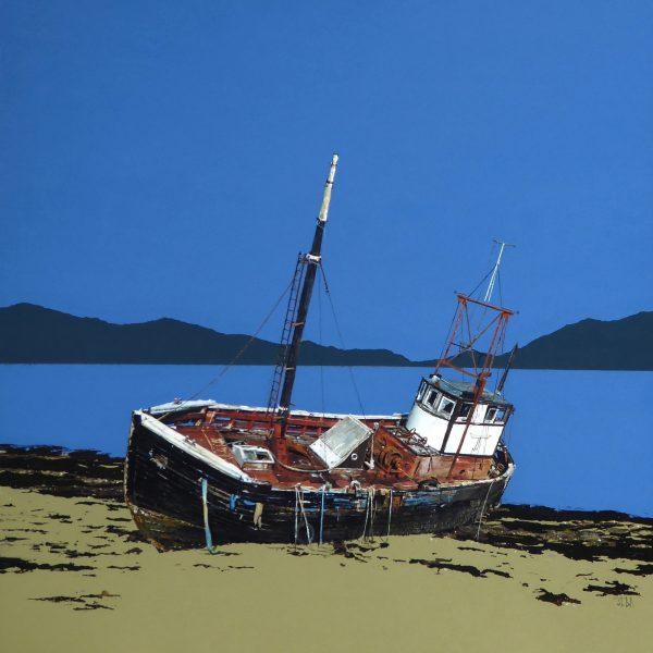 John Bell_Old Trawler, Ardgour, Loch Linnhe_Acrylic_36x36