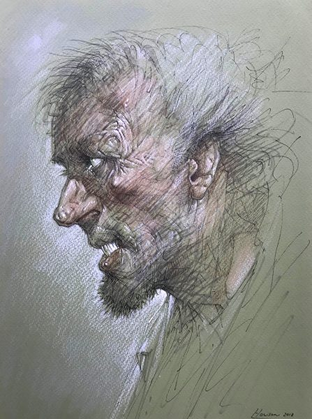 Peter Howson_Lost Prophet_Mixed Media_11.5x8.5_19x16