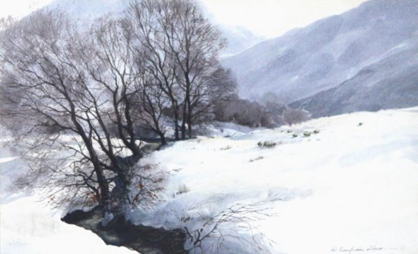 W Simpson Clowe_Winter in Perthshire_Watercolour_12x19