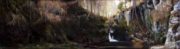 Fiona Haldane_Quoich Waterfall, near Braemar_Pastel_5.75x20.25
