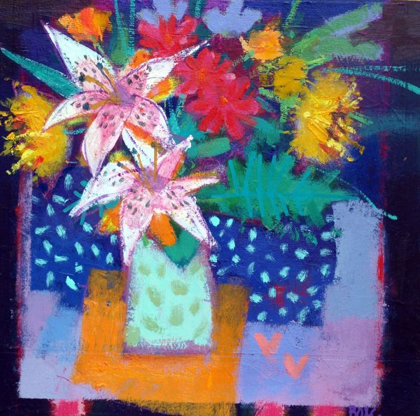 Francis-Boag_White-Lilies-and-Lovehearts_100502_Acrylic-Collage-1.
