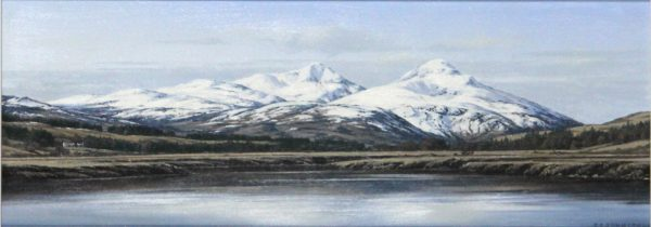 Ian Johnstone_Ben More from Glen Dockart_Oil_6x17