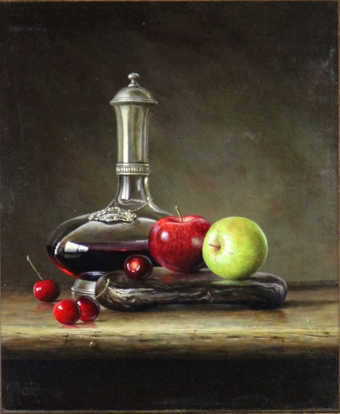 Ian Mastin_Decanter with Apples and Cherries_Oil_12x10