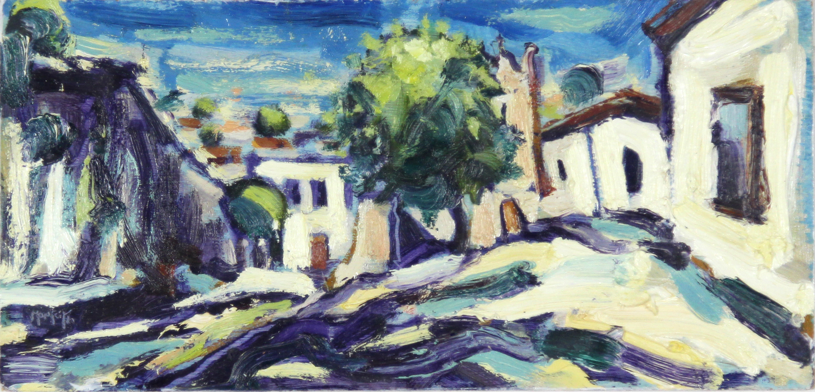 Charles Monteith Walker_Original_Oils_A Spanish Village_img size 5.5 x 11.5