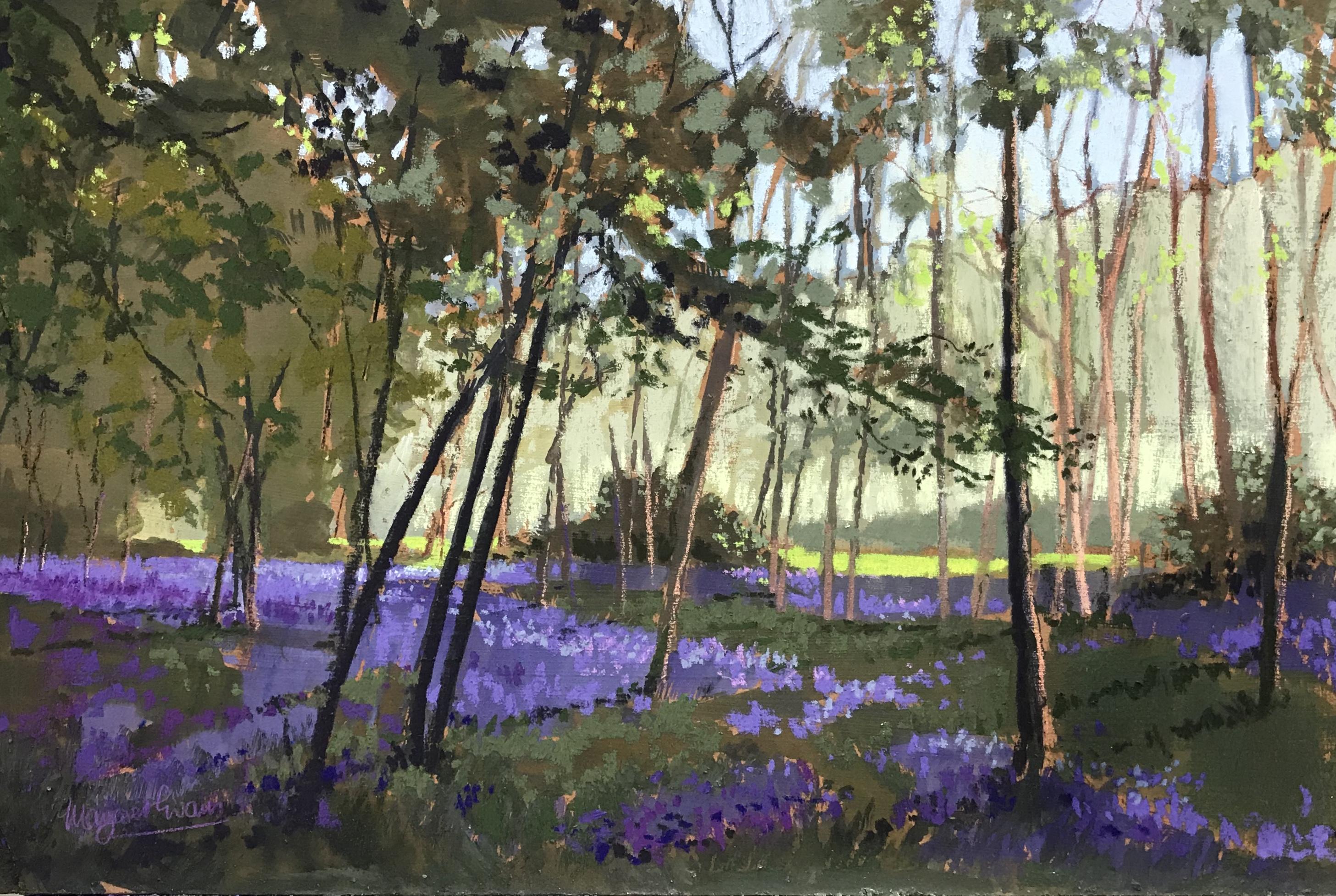 Margaret Evans_Bluebell Woods II_Pastel & Gouache_12x18