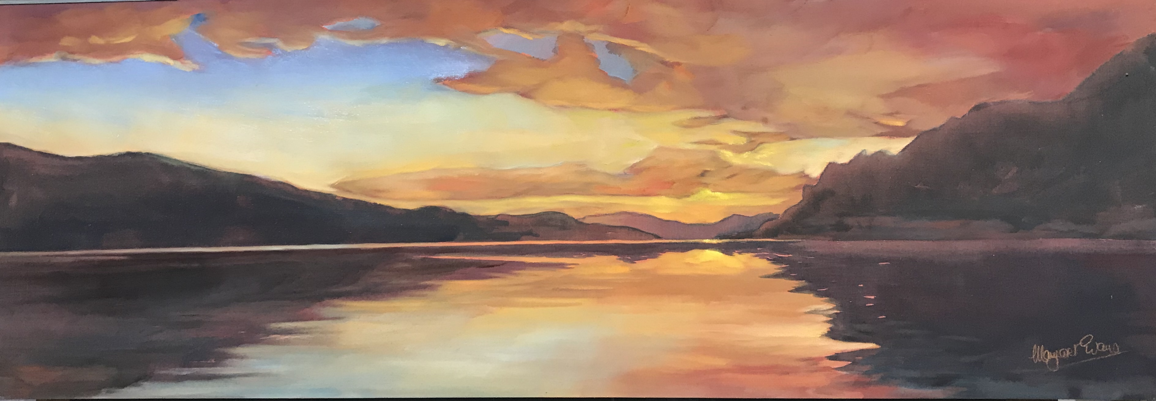 Margaret Evans_Loch Lines at Sunset_Pastel & Gouache_12x36