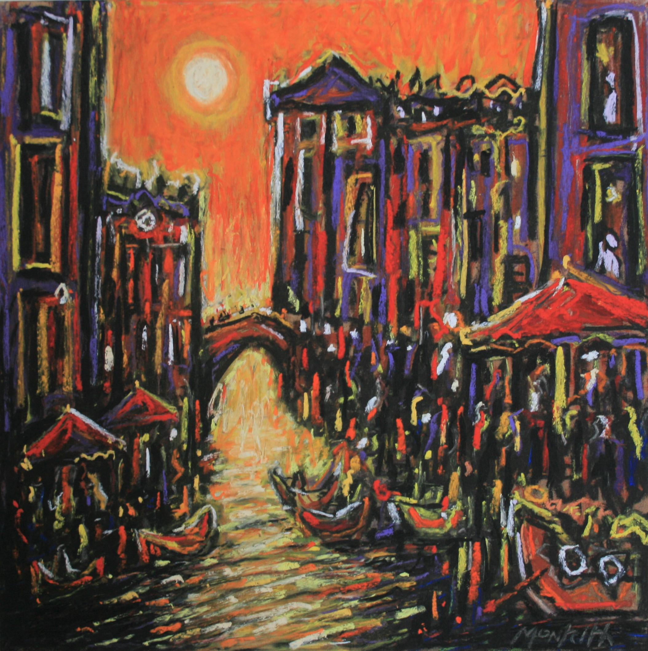 Happy Hour, Venice 12''X 12'' pastel on board