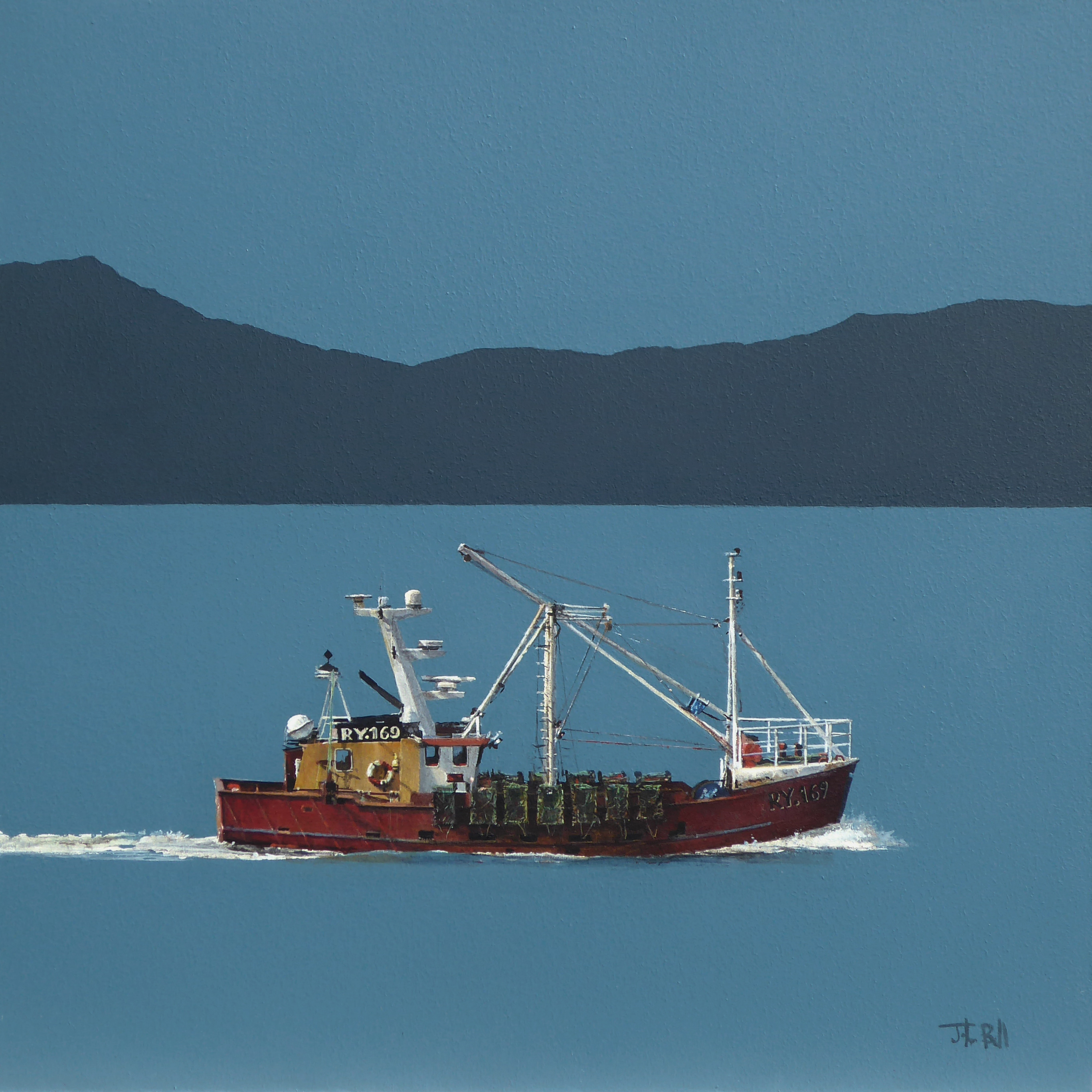 Red Trawler, off Islay (size 18 x 18 inches)