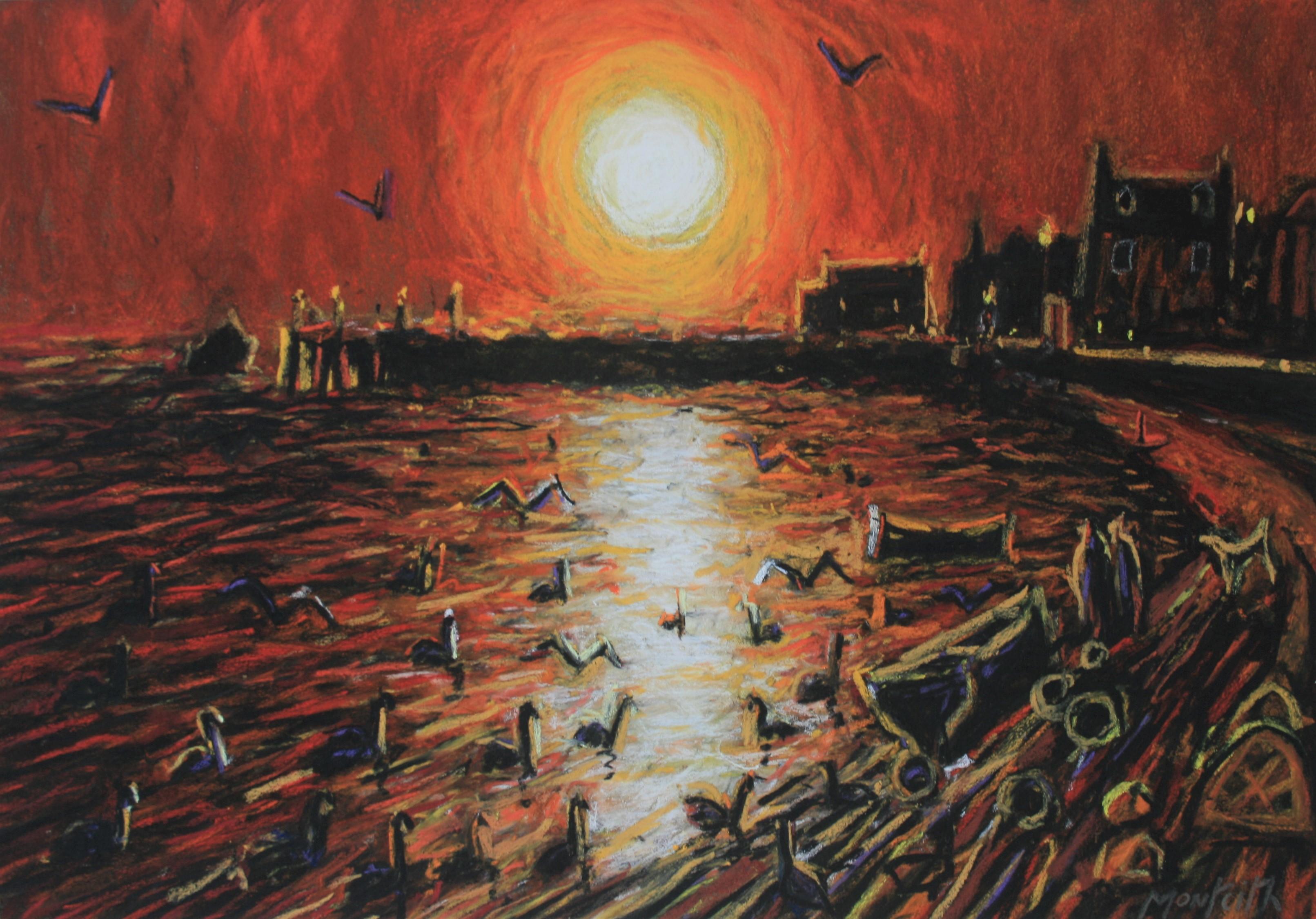 Sundown, Broughty Ferry 18''X 12.5'' pastel on board