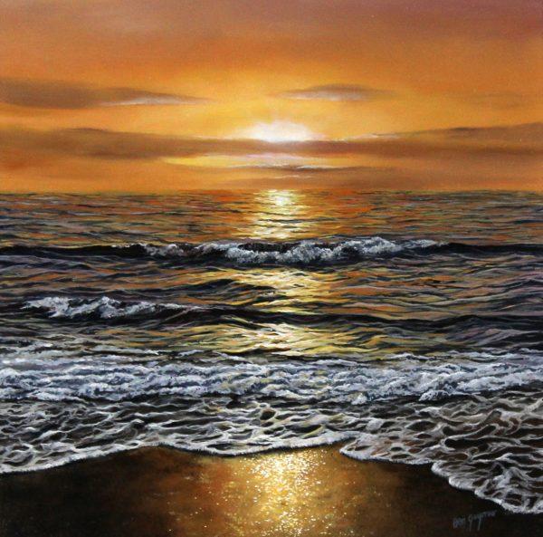 Ben Goymour_Golden Sunset_Acrylic_15.5x15.5