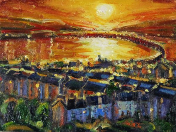 Charles Monteith Walker_Sunset, The Railbridge, Dundee_Oils_11.75x15.75_22x26 - Copy