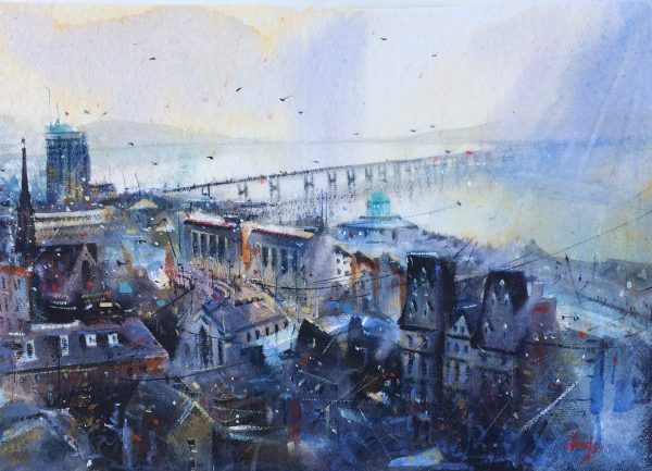 Graham Wands_Soft Light, Dundee Rooftops_Watercolour