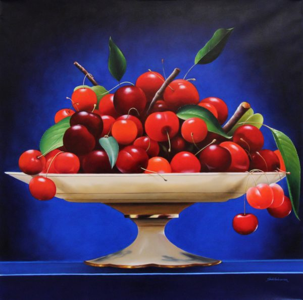 Heinz Scholnhammer_Cherries on Bowl_Oil_39.5x39.5