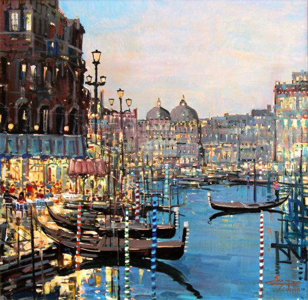 Mario Sanzone_Evening, Venice_Oil_38.75x38.75