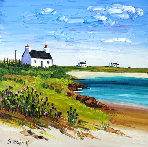 Sheila Fowler_Cottages and Wild Thistles, Tiree_12x12_18x18