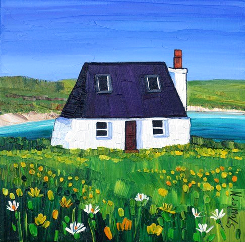 Sheila Fowler_Tiree Cottage and Machair_10x10_16x16