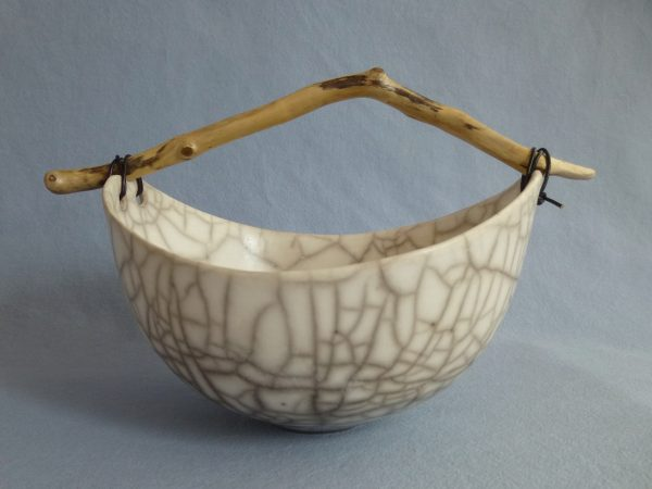 Anne Morrison_Round Crackle Bowl with Angled Wood