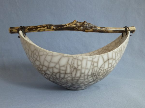Anne Morrison_Wide Crackle Bowl with Dark Wood