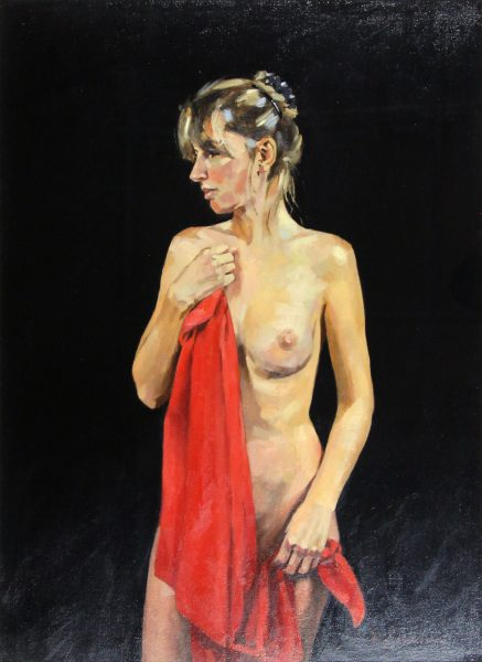 Jack Morrocco_Nude with Red Drape_Oil_23x17